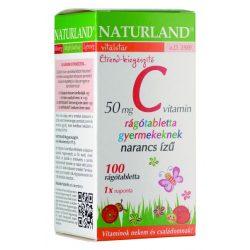 Naturland C-vitamin 50 mg narancs ízű rágótabletta gyermekeknek (100 db)