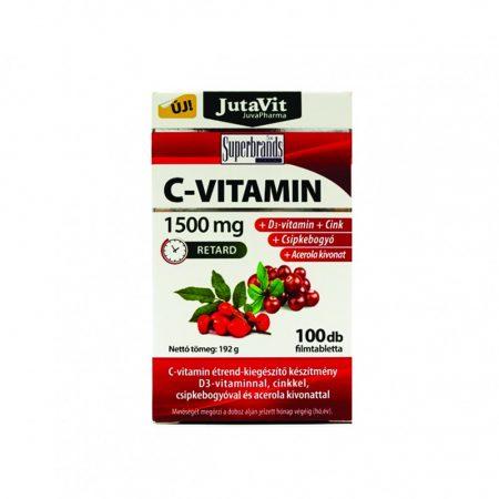 JutaVit C-vitamin 1500 mg + csipkebogyó + D3 + Acerola kivonat filmtabletta (100 db)