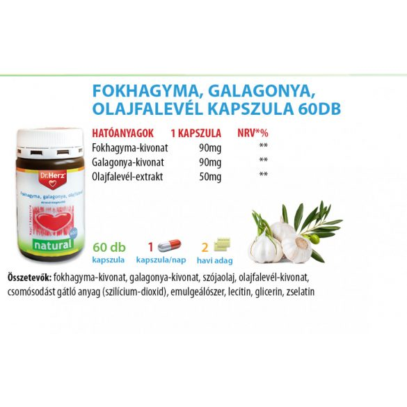 Dr. Herz Cardio Fokhagyma, galagonya, olajfalevél kapszula (60 db)
