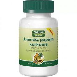 Zöldvér Ananász-papaya-kurkuma kapszula (78 db)