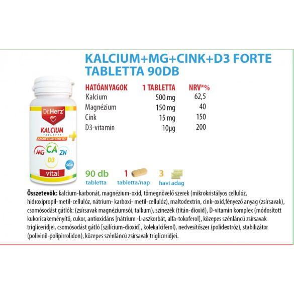 Dr. Herz Kalcium+Magnézium+Cink+D3 tabletta (90 db)