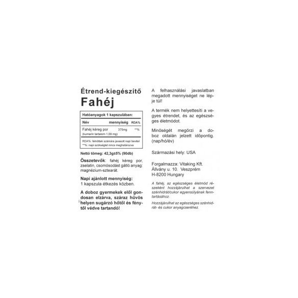 Vitaking Fahéj 375 mg kapszula (90 db)