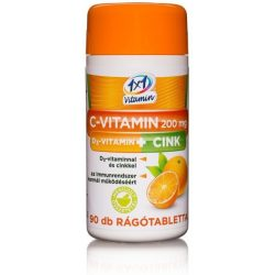 1x1 Vitaday C-vitamin 200 mg + D3 + cink narancs ízű rágótabletta  (90 db)