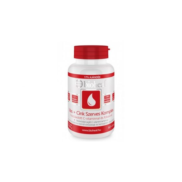 Bioheal Szerves Vas+Cink komplex + C-vitaminnal és folsavval (70 db)
