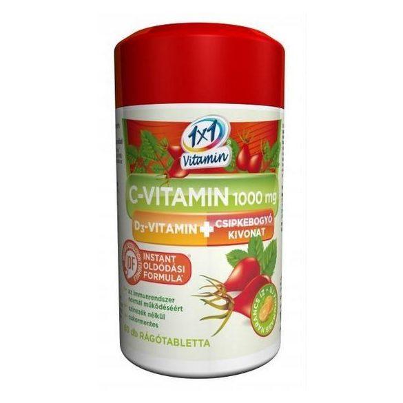 1x1 Vitaday C-vitamin 1000 mg + D3 +csipkebogyó kivonat narancs ízű rágótabletta  (60 db)