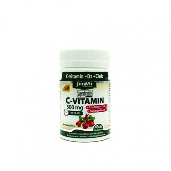 JutaVit C-vitamin 500mg nyújtott kioldódású + csipkebogyó + D3 vitamin + Cink (45 db)
